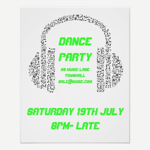DJ Dance Party Acid neon Nightclub disco Flyer