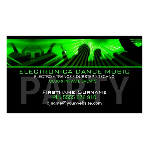 DJ Dance Rave Lasers Club Business Card