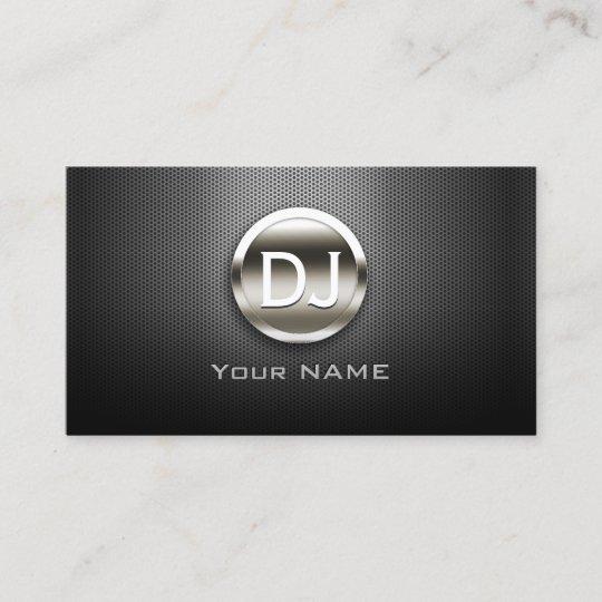 Dj deejay steel monogram modern metal business card zazzle dj deejay steel monogram modern metal business card reheart Images