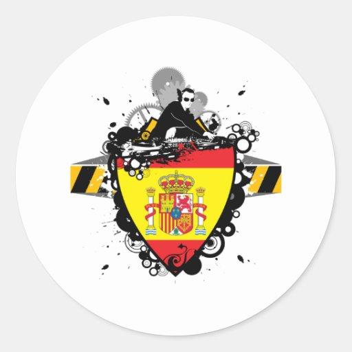 DJ España Pegatina Redonda