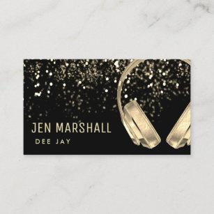 Gold foil business cards templates zazzle dj faux gold foil music headphones business card colourmoves