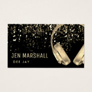 Dj Faux Gold Foil Music Headphones Business Card at Zazzle
