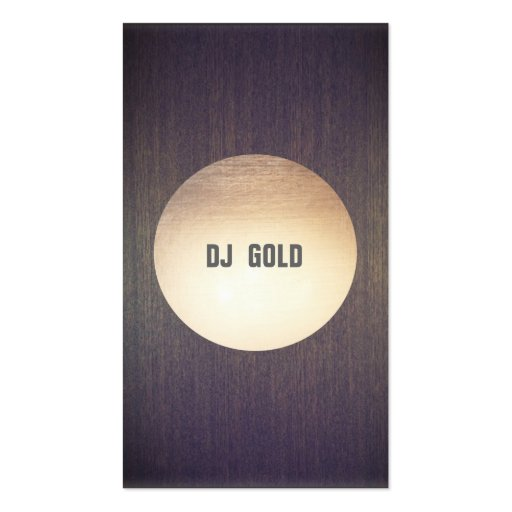 DJ Faux Gold Leaf Circle Wood Business Card