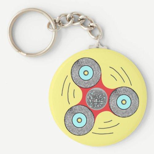 DJ Fidget Spinner Keychain
