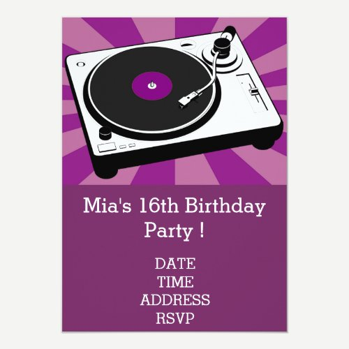 DJ funky cool retro teenage girls birthday party Invitation