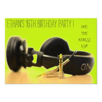 DJ funky cool teenage boys birthday party Card