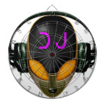 DJ futurista con los auriculares - estilo anaranja Tablero Dardos