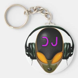 DJ futurista con los auriculares - estilo anaranja Llaveros Personalizados