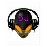 DJ futurista con los auriculares - estilo anaranja Tarjetas Postales