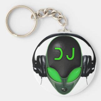 DJ futurista con los auriculares - estilo verde Llaveros Personalizados