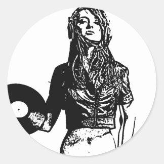 DJ girl Classic Round Sticker