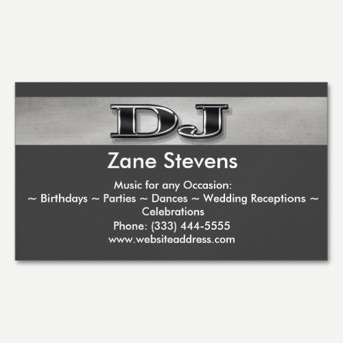 DJ Gray Stripe Silver Business Card Magnet