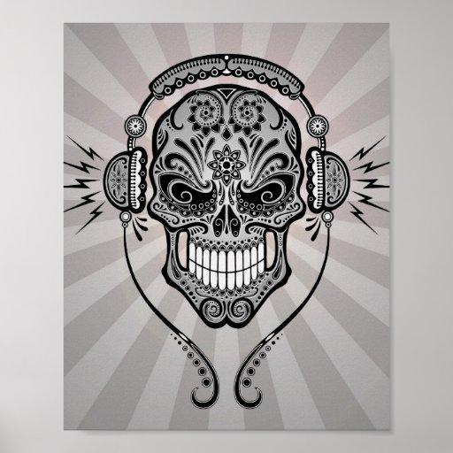 DJ gris azucara el cráneo con los rayos de la luz Impresiones