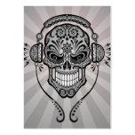 DJ gris azucara el cráneo con los rayos de la luz Plantilla De Tarjeta Personal