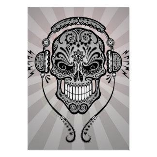 DJ gris azucara el cráneo con los rayos de la luz Tarjetas De Visita Grandes