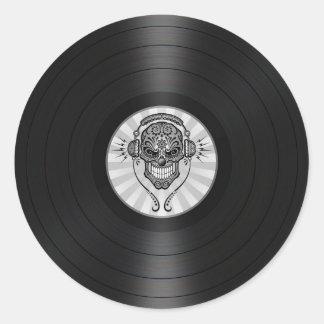 DJ gris azucara el cráneo en gráfico del disco de Pegatina Redonda