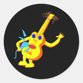 DJ Guitar Man Classic Round Sticker