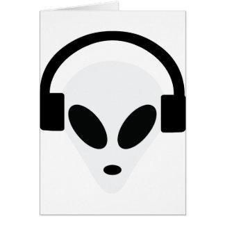dj headphone alien area 51 greeting cards