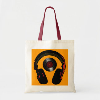 dj headphone and vinyl record music tote bag