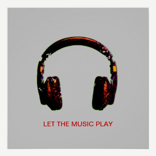 dj headphone music for walls poster