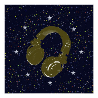 dj headphone & starry night sky poster