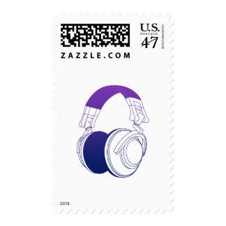 DJ Headphones 2 - Music Disc Jockey DJing Loud Postage Stamp