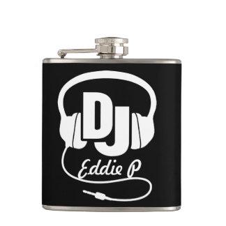 DJ headphones add your name hip flask