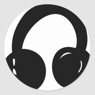 dj headphones classic round sticker