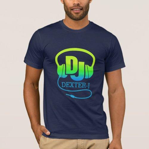 DJ headphones green blue ad your own name tee