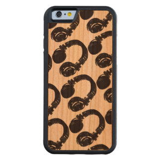 dj headphones pattern carved cherry iPhone 6 bumper case