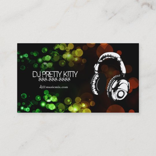 Dj headphones with colorful lights business cards zazzle dj headphones with colorful lights business cards reheart Image collections