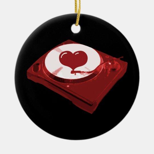 DJ Heart Turntable Ceramic Ornament