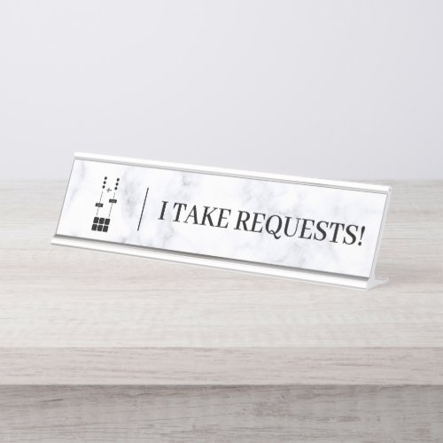 DJ | I Take Requests Desk Name Plate