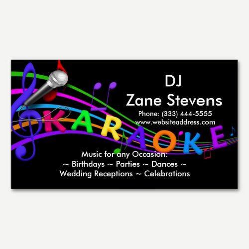 DJ Karaoke Business Card Magnet