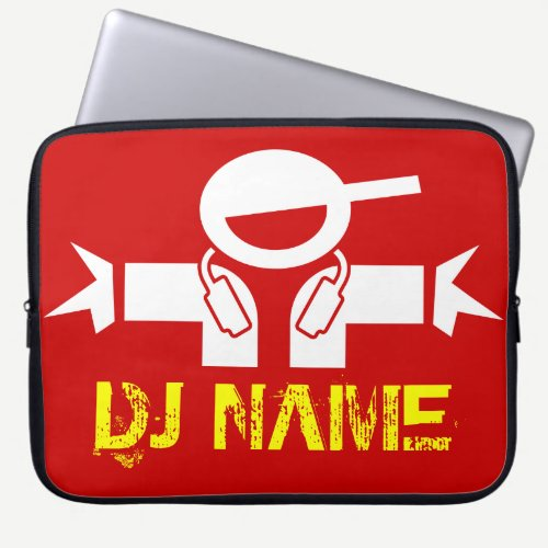 DJ laptop sleeve with custom deejay name