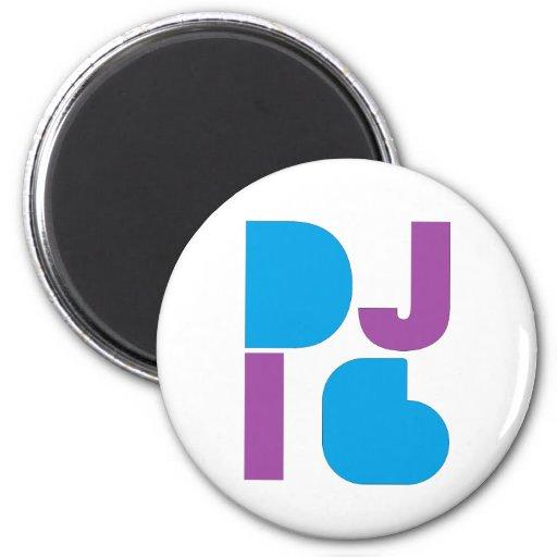 DJ logotipo púrpura/azul 1 de i6 Imanes De Nevera