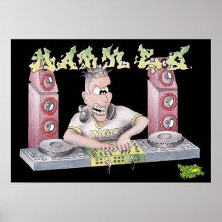 DJ marca la impresión/el poster del dibujo animado