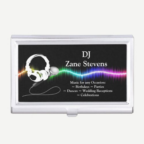 DJ Microphone Headphones Business Card Holder