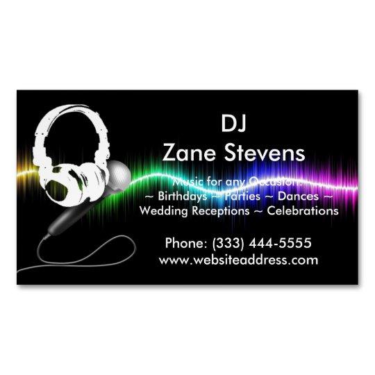 Dj Microphone Headphones Business Card Magnet Zazzle Com