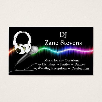 dj microphone headphones business card template zazzle com