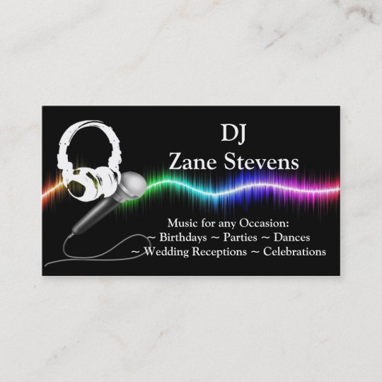 Dj microphone headphones business card template zazzle dj microphone headphones business card template reheart Image collections