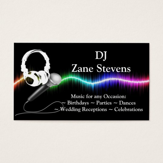 Dj microphone headphones business card template zazzle dj microphone headphones business card template reheart Choice Image