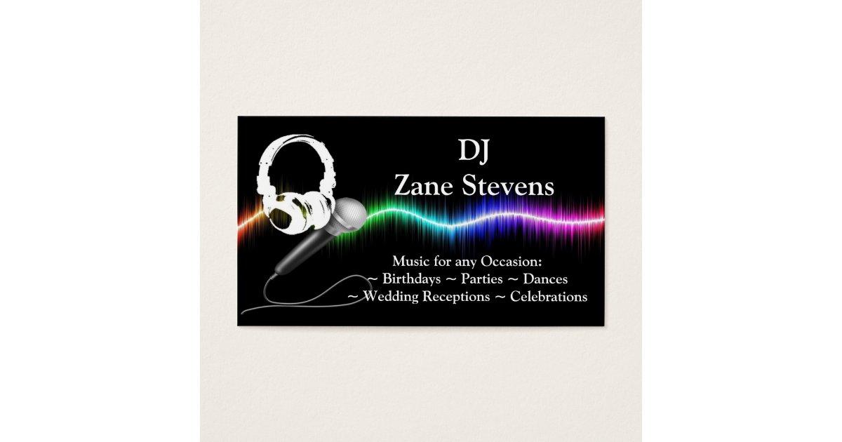DJ Microphone Headphones Business Card Template   Zazzle.com