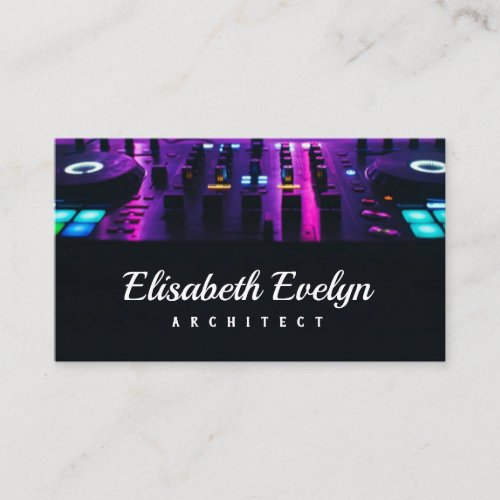 Dj mixer on the table the night club business card