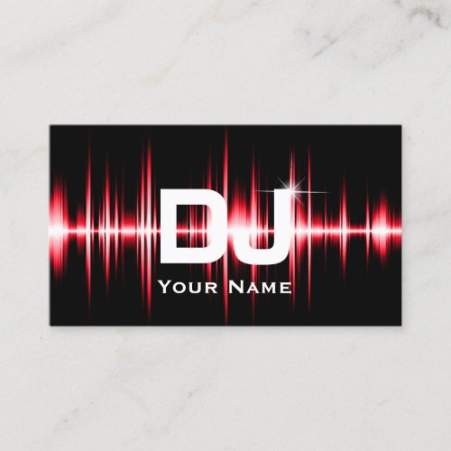 DJ Modern Red Beats Professional Deejay Music Business Card