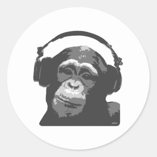 DJ MONKEY CLASSIC ROUND STICKER