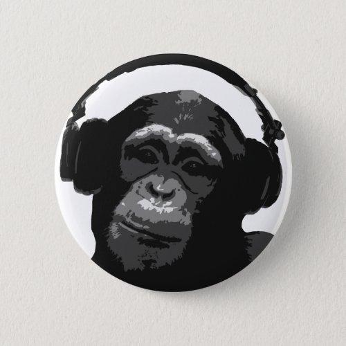 DJ MONKEY PINBACK BUTTON