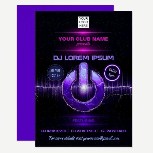 DJ Music and Dance Gig add logo invitation