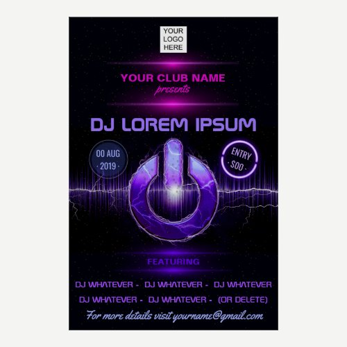 DJ Music and Dance Gig add photo and logo invite Poster