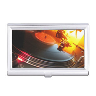 Dj business card holders cases zazzle dj music club entertainment business card case for business cards reheart Gallery